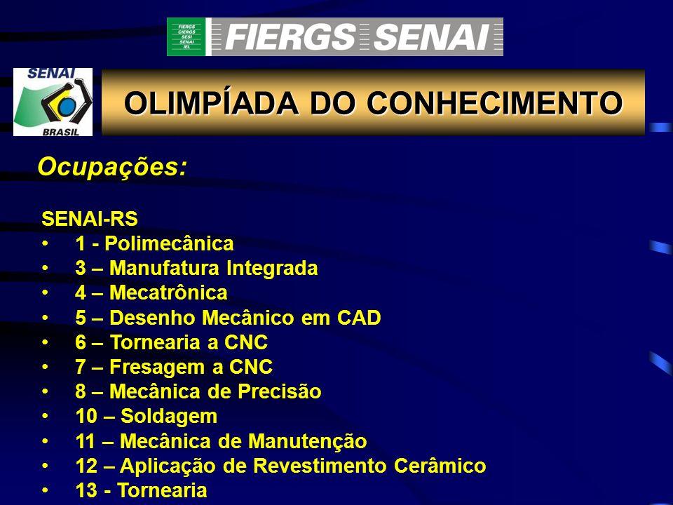OLIMPÍADA DO CONHECIMENTO Ocupações: SENAI-RS 1 - Polimecânica 3 – Manufatura Integrada 4 – Mecatrônica 5 – Desenho Mecânico em CAD 6 – Tornearia a CN