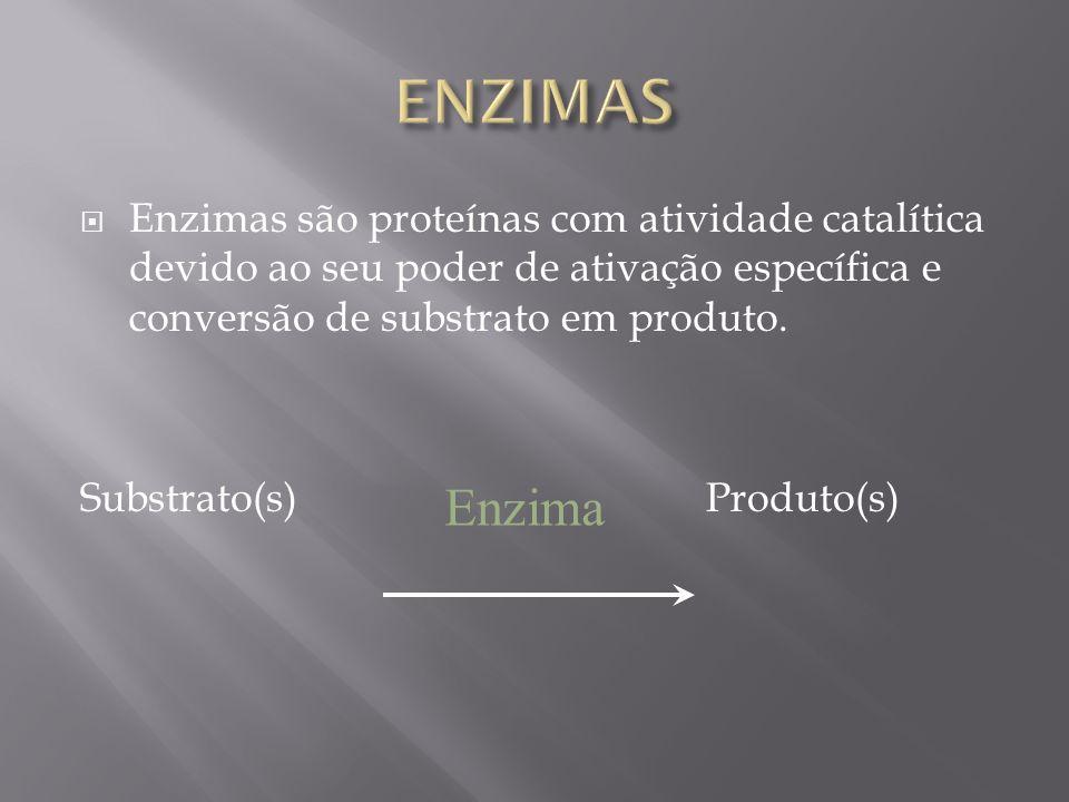 Enzimas são proteínas com atividade catalítica devido ao seu poder de ativação específica e conversão de substrato em produto. Substrato(s) Produto(s)