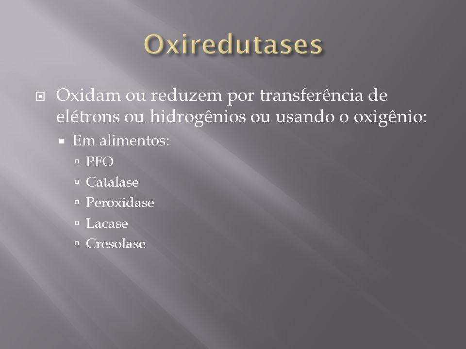 Oxidam ou reduzem por transferência de elétrons ou hidrogênios ou usando o oxigênio: Em alimentos: PFO Catalase Peroxidase Lacase Cresolase