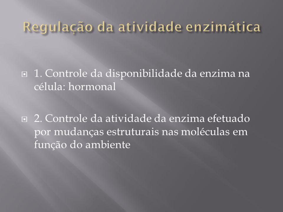 1. Controle da disponibilidade da enzima na célula: hormonal 2. Controle da atividade da enzima efetuado por mudanças estruturais nas moléculas em fun