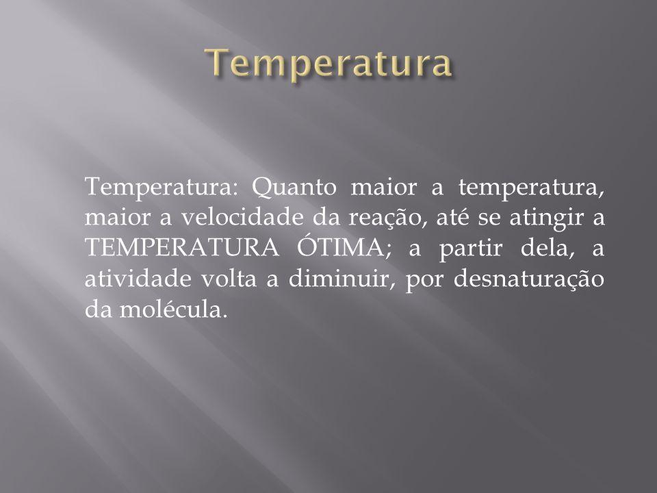 Temperatura: Quanto maior a temperatura, maior a velocidade da reação, até se atingir a TEMPERATURA ÓTIMA; a partir dela, a atividade volta a diminuir