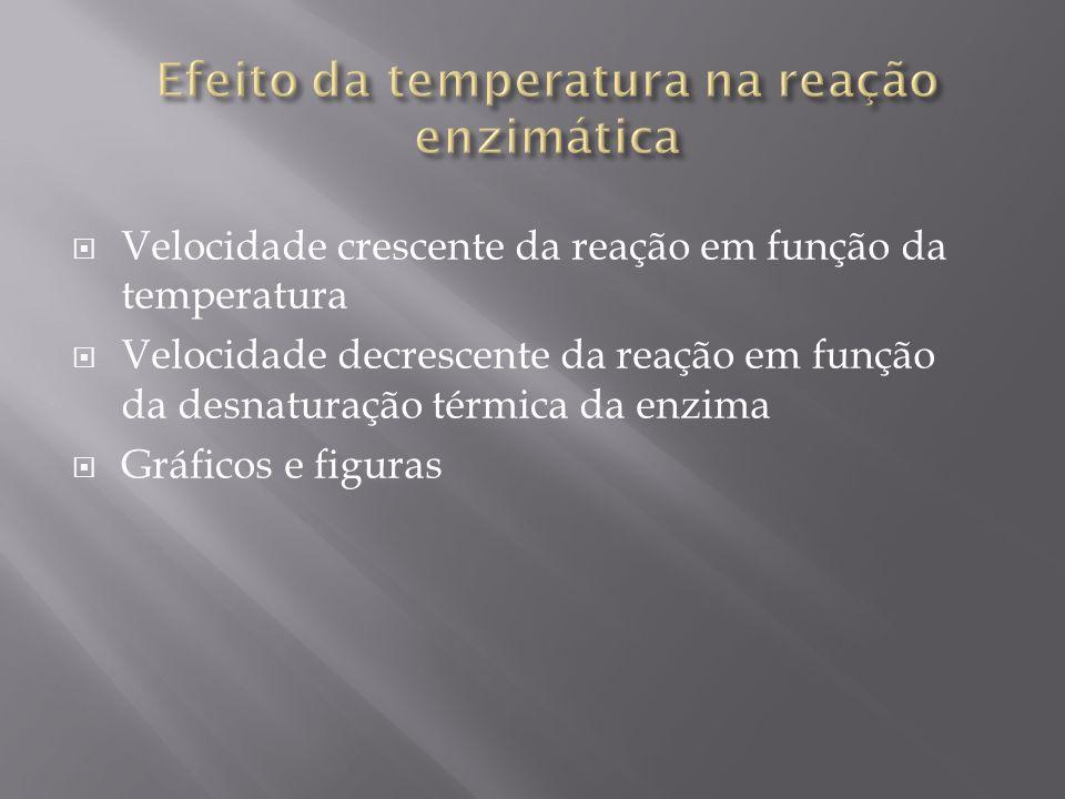 Velocidade crescente da reação em função da temperatura Velocidade decrescente da reação em função da desnaturação térmica da enzima Gráficos e figura