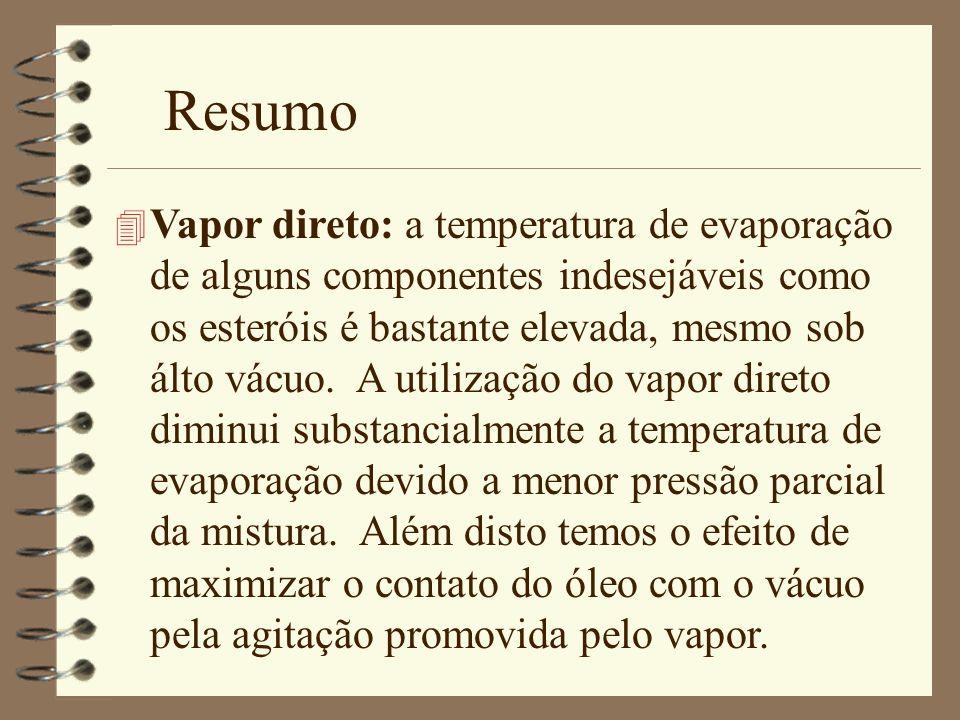 Resumo 4 Vapor direto: a temperatura de evaporação de alguns componentes indesejáveis como os esteróis é bastante elevada, mesmo sob álto vácuo. A uti