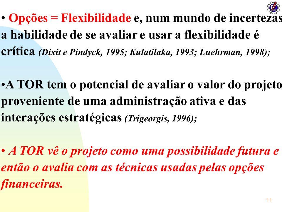 11 Opções = Flexibilidade e, num mundo de incertezas a habilidade de se avaliar e usar a flexibilidade é crítica (Dixit e Pindyck, 1995; Kulatilaka, 1