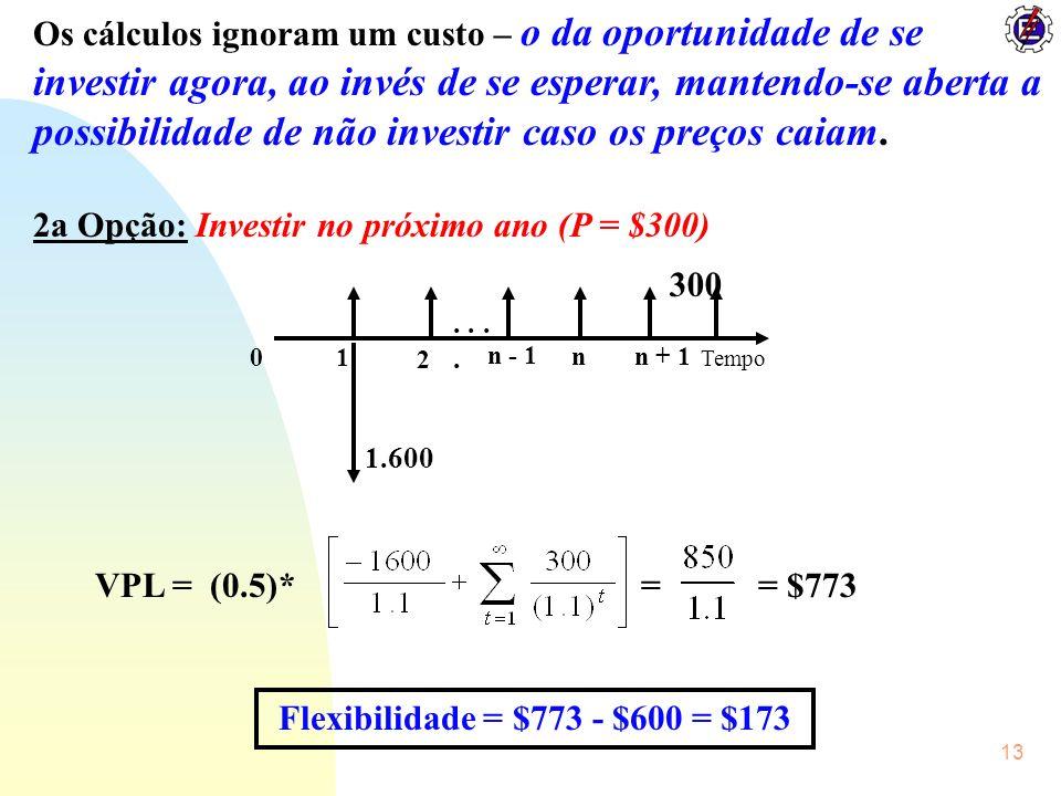 13 Os cálculos ignoram um custo – o da oportunidade de se investir agora, ao invés de se esperar, mantendo-se aberta a possibilidade de não investir c