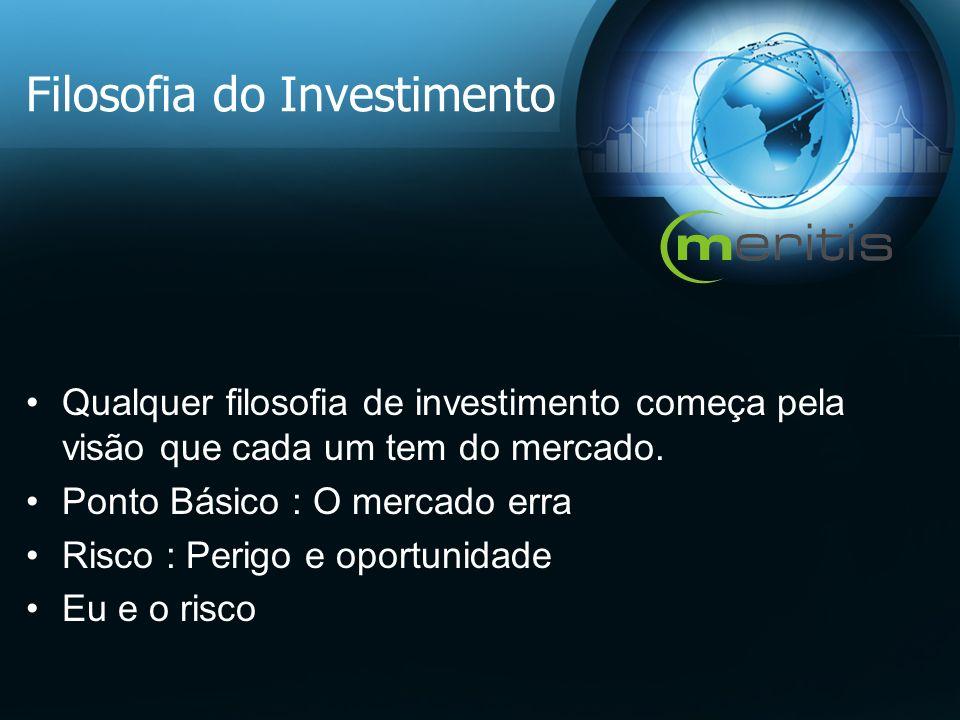 Filosofia do Investimento Qualquer filosofia de investimento começa pela visão que cada um tem do mercado. Ponto Básico : O mercado erra Risco : Perig