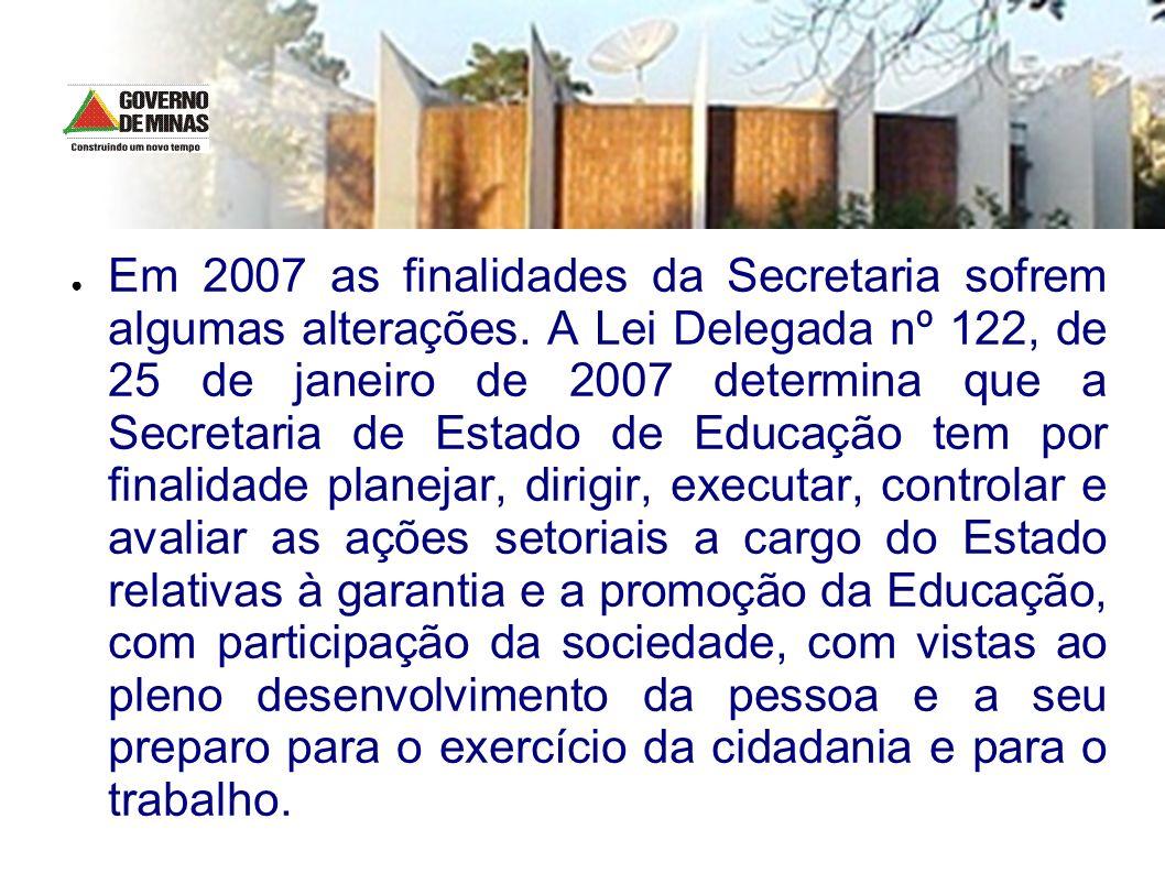 Em 2007 as finalidades da Secretaria sofrem algumas alterações. A Lei Delegada nº 122, de 25 de janeiro de 2007 determina que a Secretaria de Estado d
