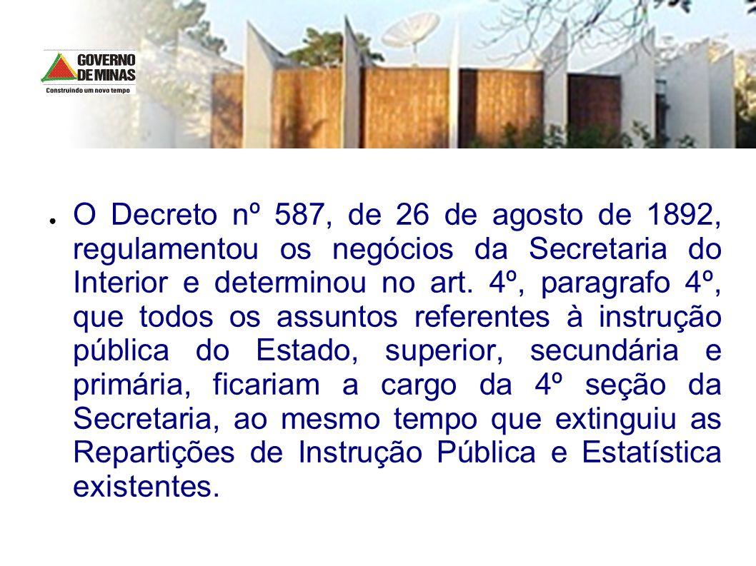 O Decreto nº 587, de 26 de agosto de 1892, regulamentou os negócios da Secretaria do Interior e determinou no art. 4º, paragrafo 4º, que todos os assu