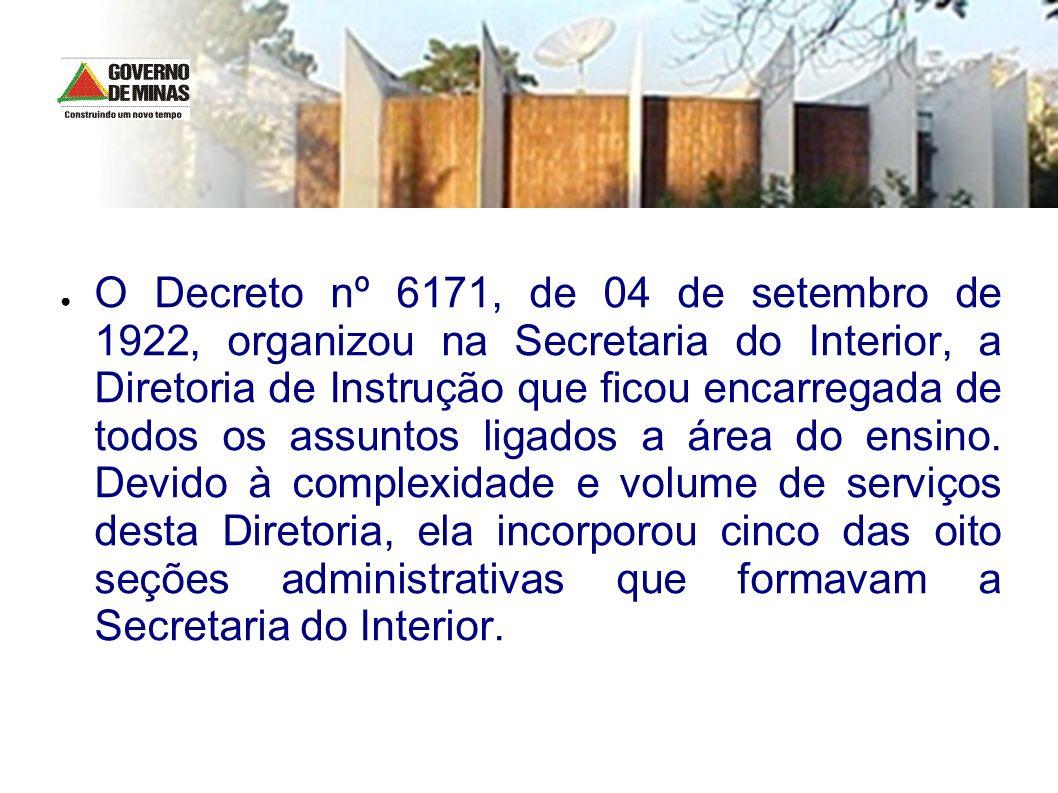 O Decreto nº 6171, de 04 de setembro de 1922, organizou na Secretaria do Interior, a Diretoria de Instrução que ficou encarregada de todos os assuntos