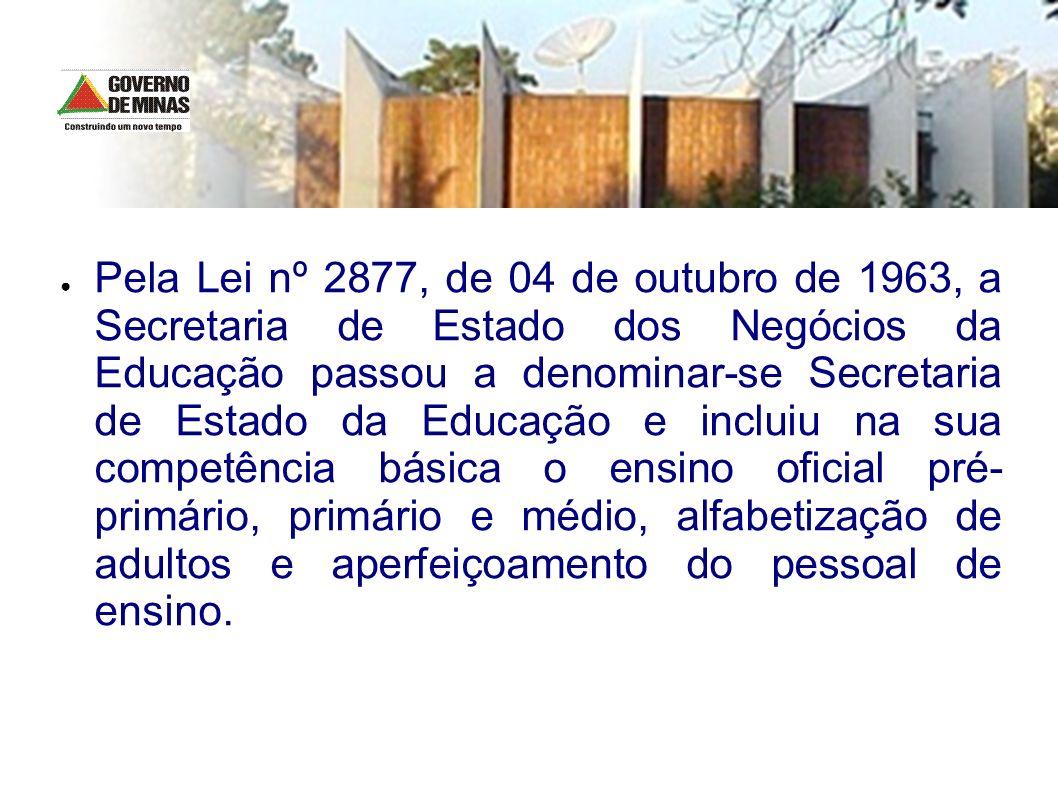 Pela Lei nº 2877, de 04 de outubro de 1963, a Secretaria de Estado dos Negócios da Educação passou a denominar-se Secretaria de Estado da Educação e i