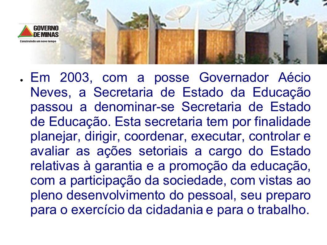 Em 2003, com a posse Governador Aécio Neves, a Secretaria de Estado da Educação passou a denominar-se Secretaria de Estado de Educação. Esta secretari