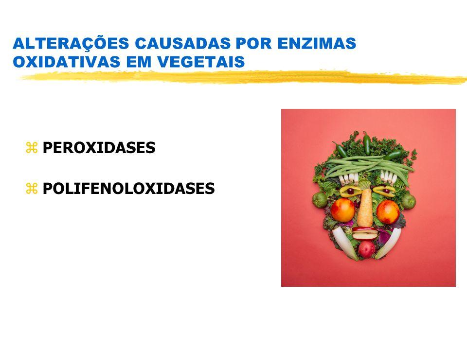 ALTERAÇÕES CAUSADAS POR ENZIMAS OXIDATIVAS EM VEGETAIS zPEROXIDASES zPOLIFENOLOXIDASES