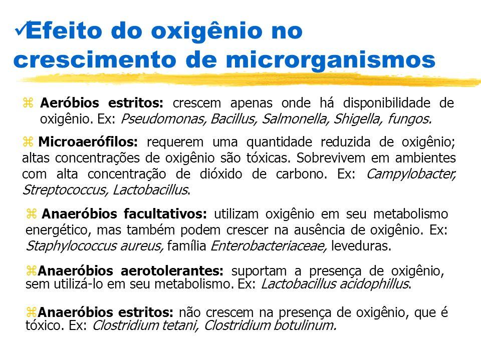 Efeito do oxigênio no crescimento de microrganismos zAeróbios estritos: crescem apenas onde há disponibilidade de oxigênio. Ex: Pseudomonas, Bacillus,