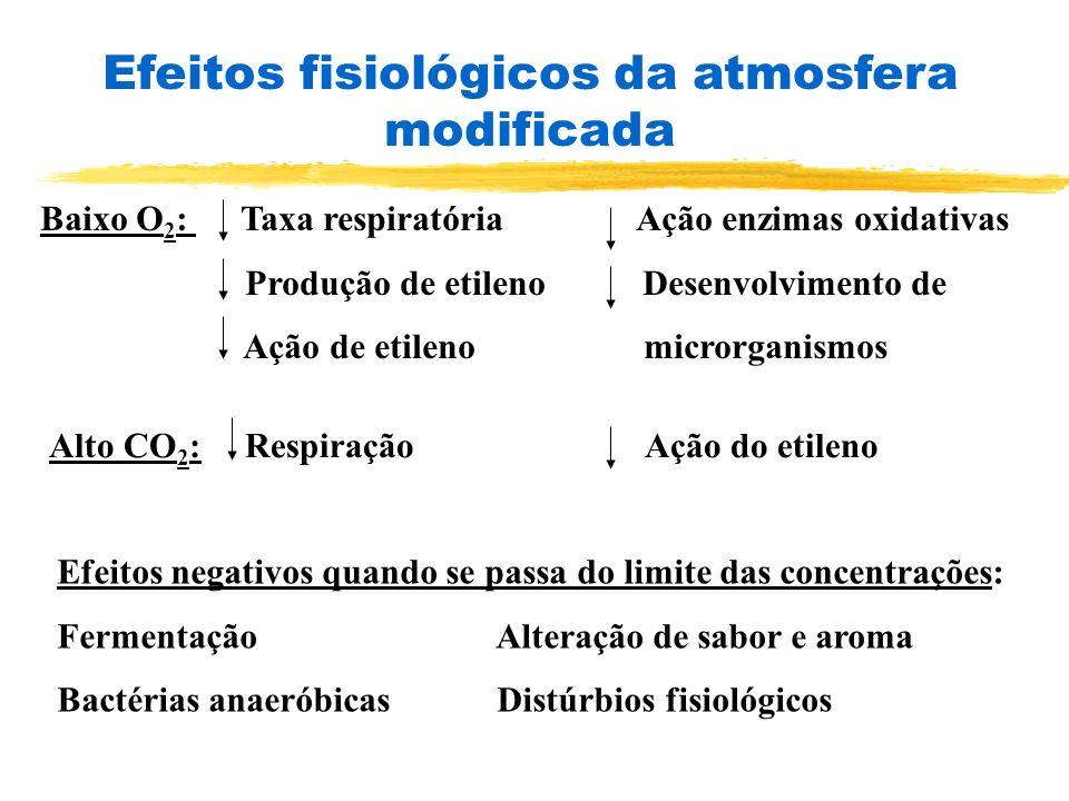 Baixo O 2 : Taxa respiratória Ação enzimas oxidativas Produção de etileno Desenvolvimento de Ação de etileno microrganismos Alto CO 2 : Respiração Açã