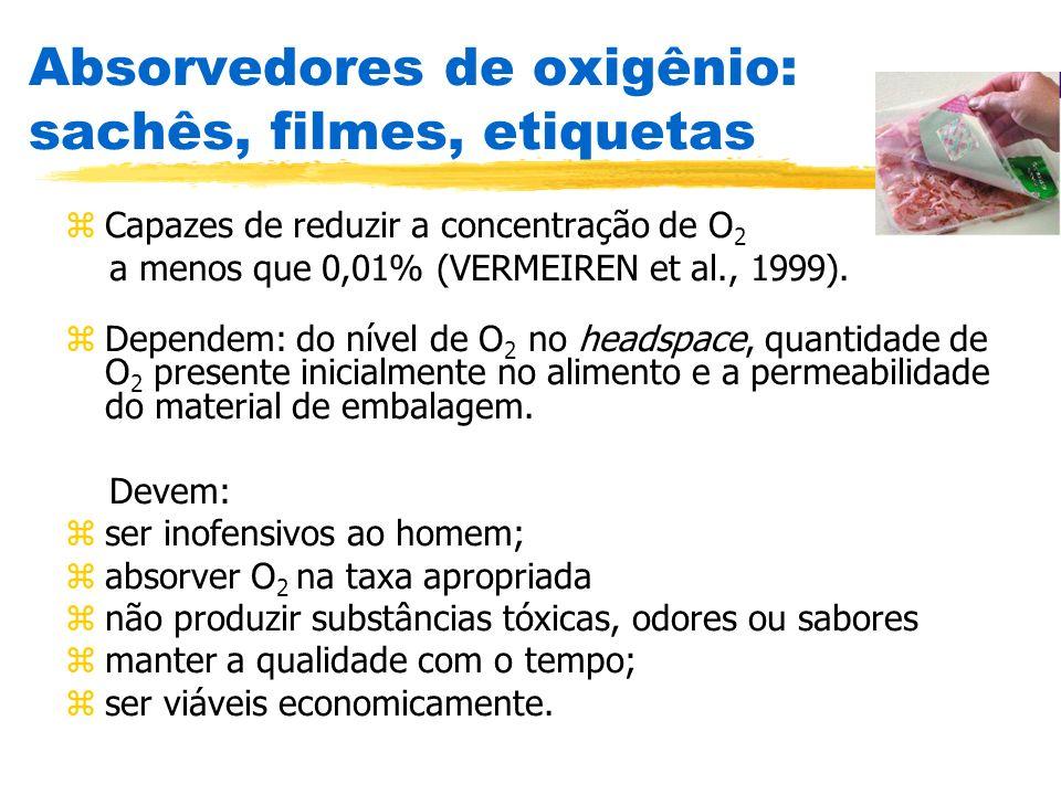 Absorvedores de oxigênio: sachês, filmes, etiquetas zCapazes de reduzir a concentração de O 2 a menos que 0,01% (VERMEIREN et al., 1999). zDependem: d