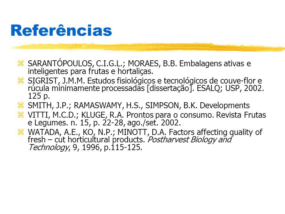 zSARANTÓPOULOS, C.I.G.L.; MORAES, B.B. Embalagens ativas e inteligentes para frutas e hortaliças. zSIGRIST, J.M.M. Estudos fisiológicos e tecnológicos
