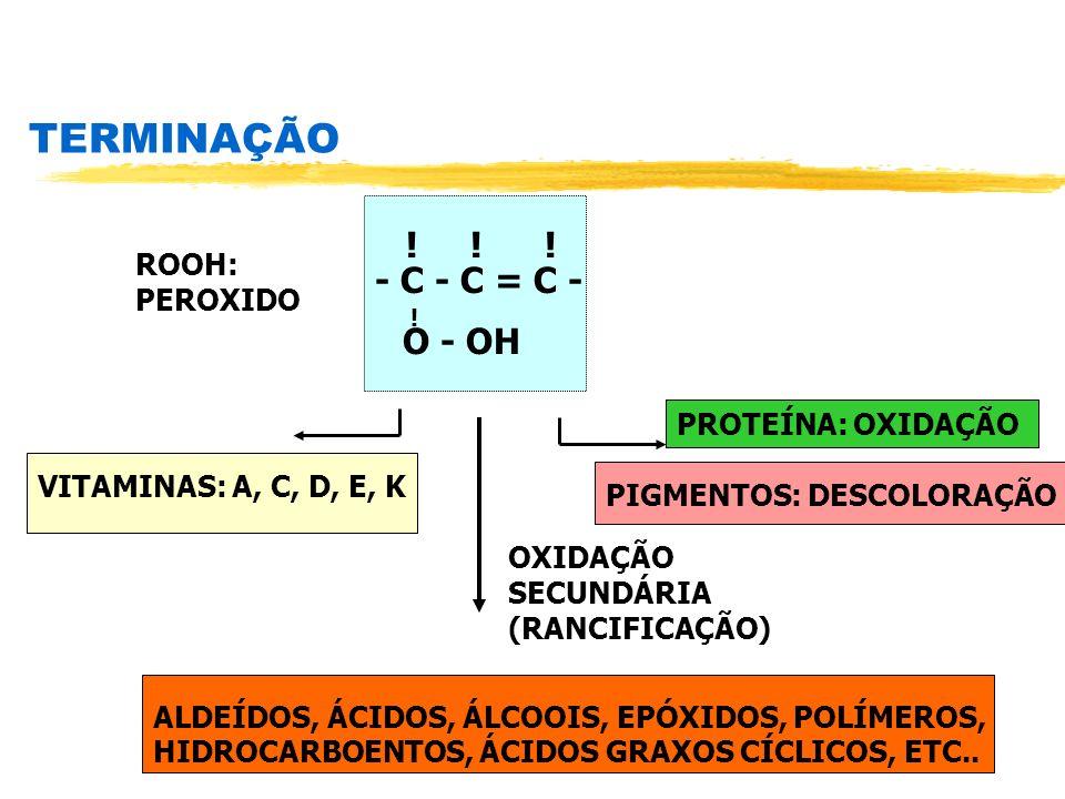 TERMINAÇÃO PROTEÍNA: OXIDAÇÃO ! ! ! - C - C = C - ! O - OH ROOH: PEROXIDO PIGMENTOS: DESCOLORAÇÃO VITAMINAS: A, C, D, E, K OXIDAÇÃO SECUNDÁRIA (RANCIF