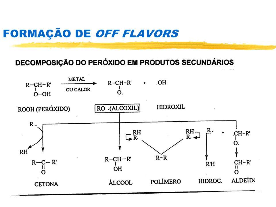 ESTABILIDADE DA CLOROFILA CONDIÇÃO CLOROFILACLOROFILA CÚPRICA Oxigênio/Escuro7%0,7% Oxigênio/Luz95%**42% Nitrogênio/Escuro6% - Nitrogênio/Luz91%*42% NOTA: *após 45 horas ** após 24horas Fonte: Santos, 1988 % de PERDA