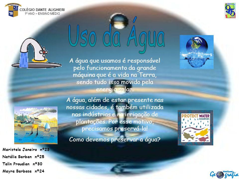 COLÉGIO DANTE ALIGHIERI 1º ANO – ENSINO MÉDIO A água que usamos é responsável pelo funcionamento da grande máquina que é a vida na Terra, sendo tudo isso movido pela energia solar.