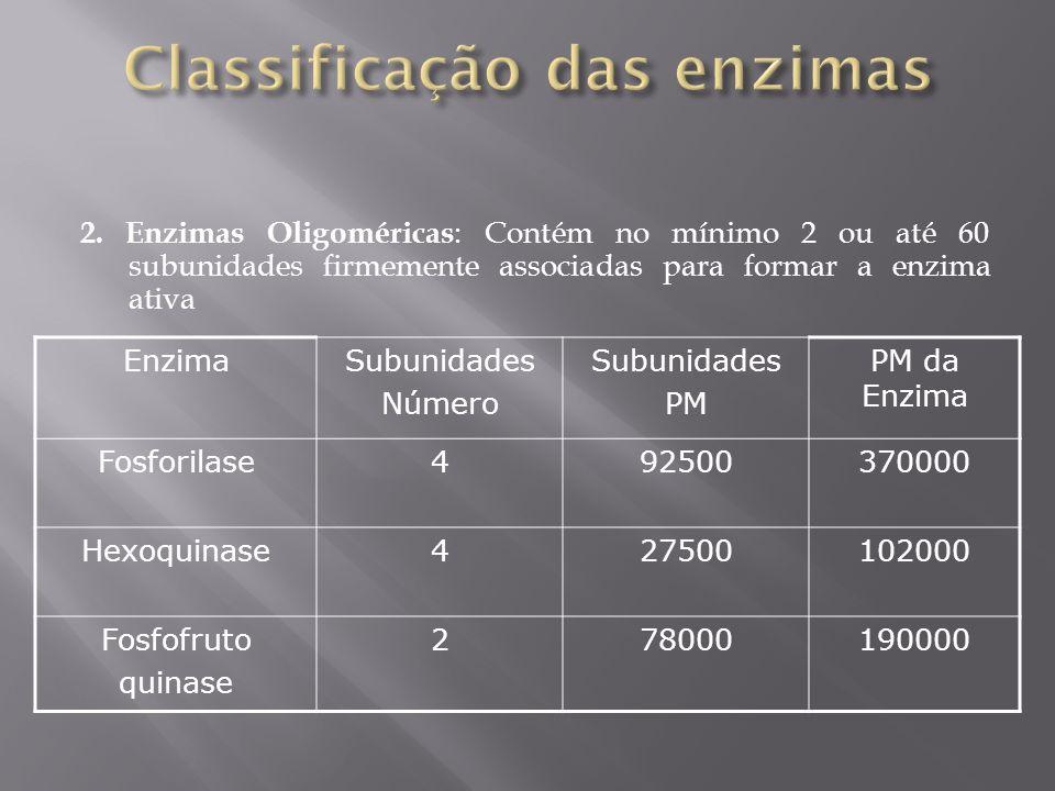 2. Enzimas Oligoméricas : Contém no mínimo 2 ou até 60 subunidades firmemente associadas para formar a enzima ativa EnzimaSubunidades Número Subunidad