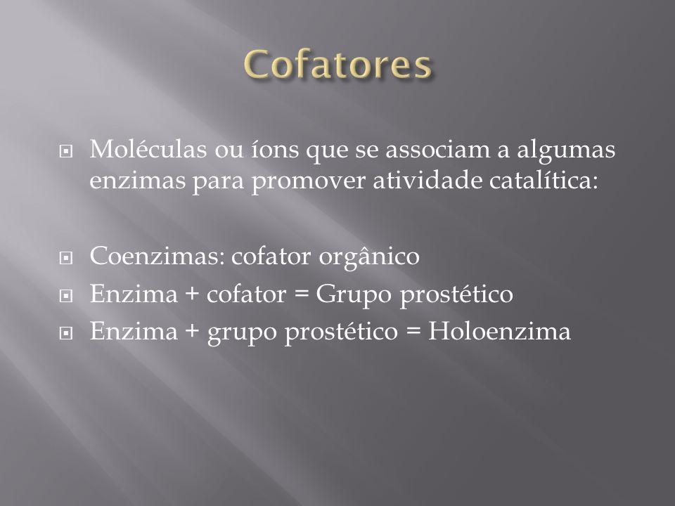 Moléculas ou íons que se associam a algumas enzimas para promover atividade catalítica: Coenzimas: cofator orgânico Enzima + cofator = Grupo prostétic