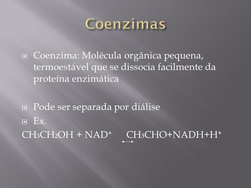 Coenzima: Molécula orgânica pequena, termoestável que se dissocia facilmente da proteína enzimática Pode ser separada por diálise Ex. CH 3 CH 2 OH + N