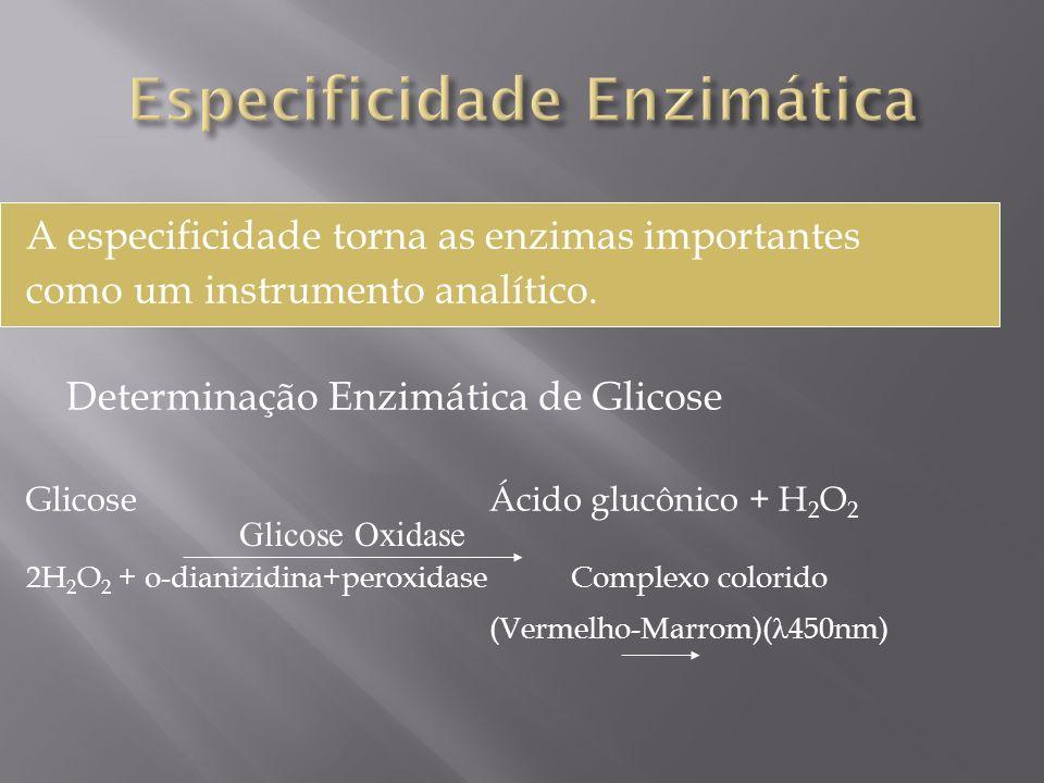 A especificidade torna as enzimas importantes como um instrumento analítico. Determinação Enzimática de Glicose Glicose Ácido glucônico + H 2 O 2 2H 2