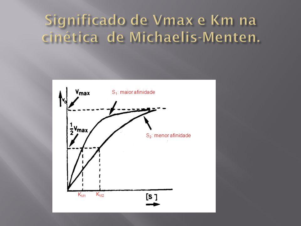 S 1 : maior afinidade S 2 : menor afinidade K M1 K M2