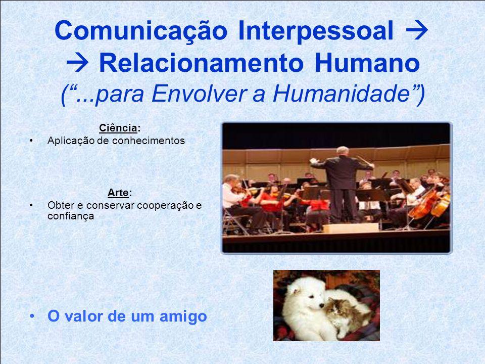 Comunicação Interpessoal Relacionamento Humano (...para Envolver a Humanidade) Ciência: Aplicação de conhecimentos Arte: Obter e conservar cooperação e confiança O valor de um amigo