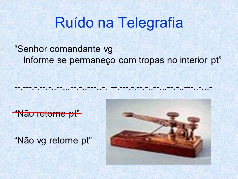Ruído na Telegrafia Senhor comandante vg Informe se permaneço com tropas no interior pt --.---.-.--.-..--...--.-..---..-.