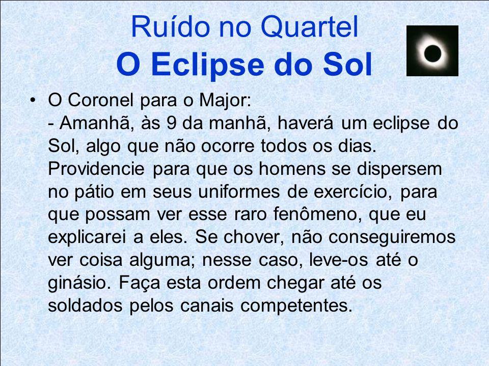 Ruído no Quartel O Eclipse do Sol O Coronel para o Major: - Amanhã, às 9 da manhã, haverá um eclipse do Sol, algo que não ocorre todos os dias.
