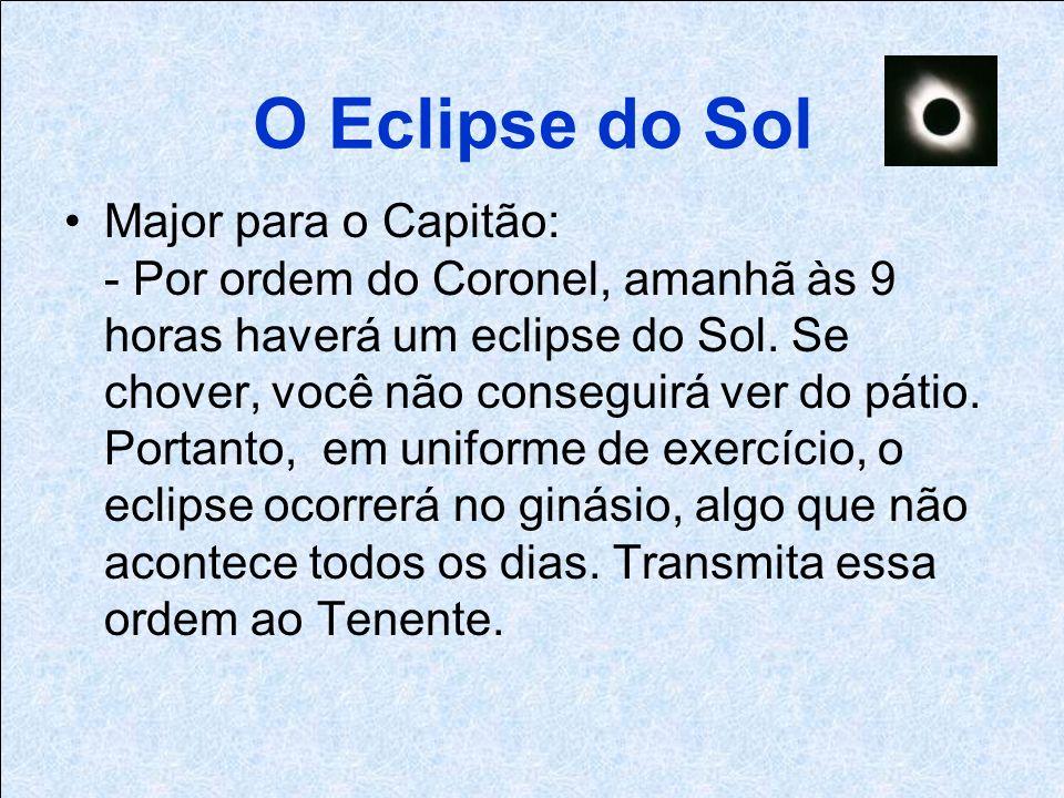 O Eclipse do Sol Major para o Capitão: - Por ordem do Coronel, amanhã às 9 horas haverá um eclipse do Sol.