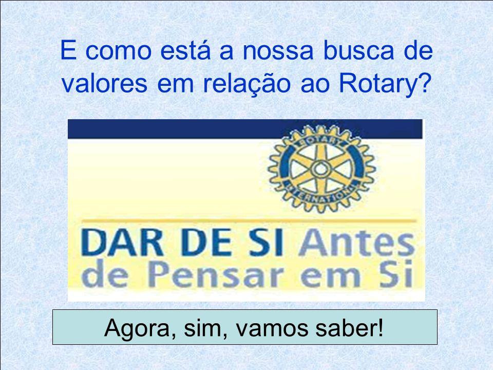 E como está a nossa busca de valores em relação ao Rotary Agora, sim, vamos saber!