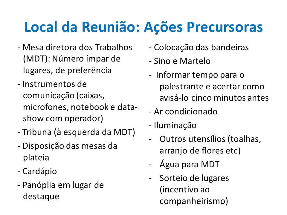 Local da Reunião: Ações Precursoras - Mesa diretora dos Trabalhos (MDT): Número ímpar de lugares, de preferência - Instrumentos de comunicação (caixas