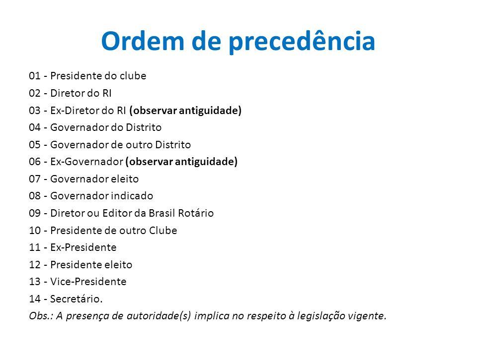 Ordem de precedência 01 - Presidente do clube 02 - Diretor do RI 03 - Ex-Diretor do RI (observar antiguidade) 04 - Governador do Distrito 05 - Governa