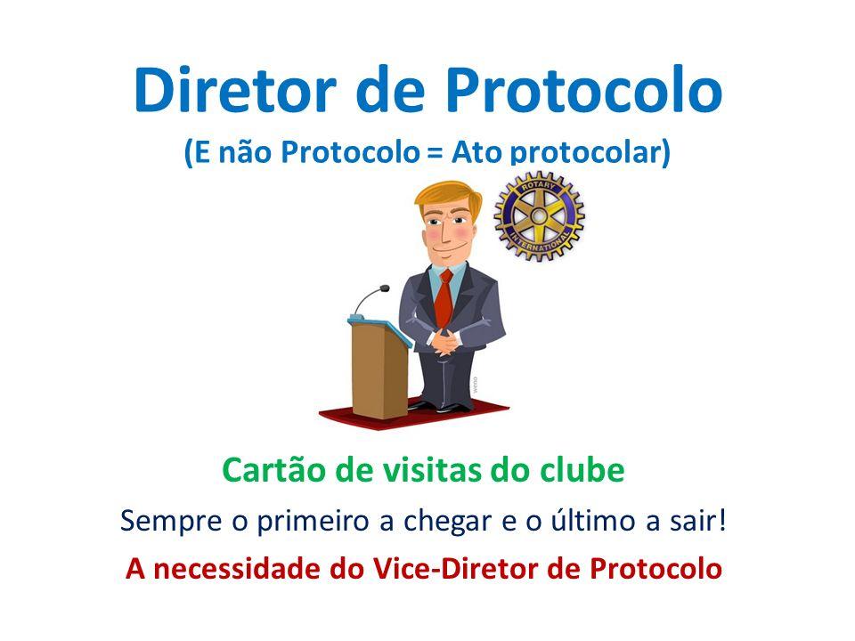 Diretor de Protocolo (E não Protocolo = Ato protocolar) Cartão de visitas do clube Sempre o primeiro a chegar e o último a sair! A necessidade do Vice
