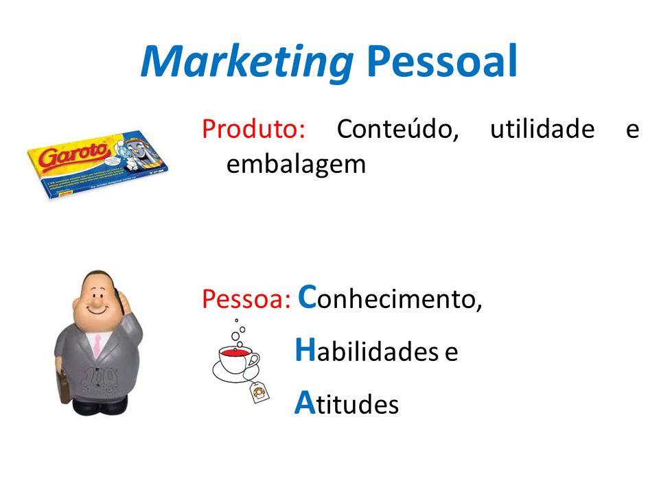 Marketing Pessoal Produto: Conteúdo, utilidade e embalagem Pessoa: C onhecimento, H abilidades e A titudes