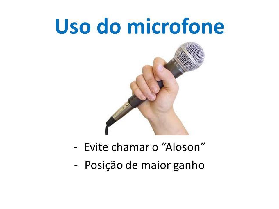 Uso do microfone -Evite chamar o Aloson -Posição de maior ganho