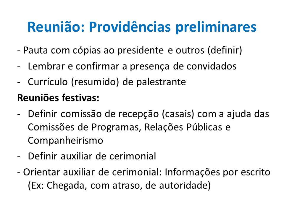 Reunião: Providências preliminares - Pauta com cópias ao presidente e outros (definir) -Lembrar e confirmar a presença de convidados -Currículo (resum