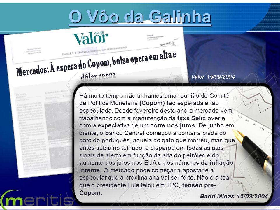 Mercados: À espera do Copom, bolsa opera em alta e dólar recua Valor 15/09/2004 Há muito tempo não tínhamos uma reunião do Comitê de Política Monetári