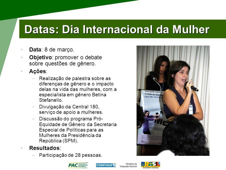 Datas: Dia Internacional da Mulher Data: 8 de março. Objetivo: promover o debate sobre questões de gênero. Ações: –Realização de palestra sobre as dif