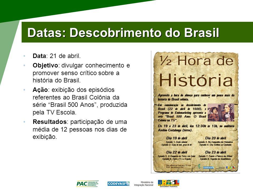 Datas: Descobrimento do Brasil Data: 21 de abril. Objetivo: divulgar conhecimento e promover senso crítico sobre a história do Brasil. Ação: exibição
