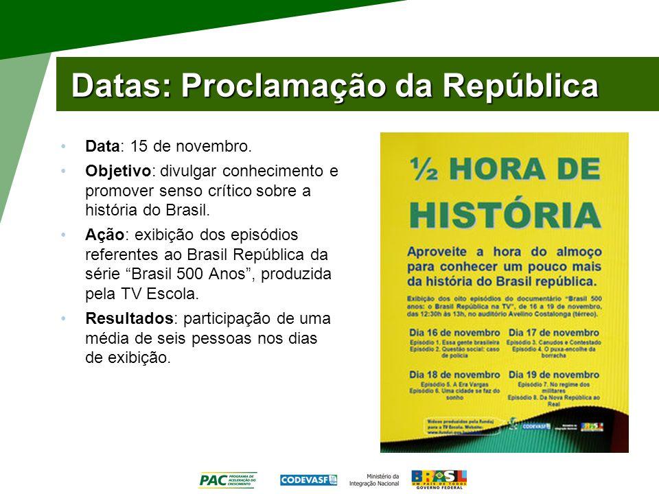 Datas: Proclamação da República Data: 15 de novembro. Objetivo: divulgar conhecimento e promover senso crítico sobre a história do Brasil. Ação: exibi