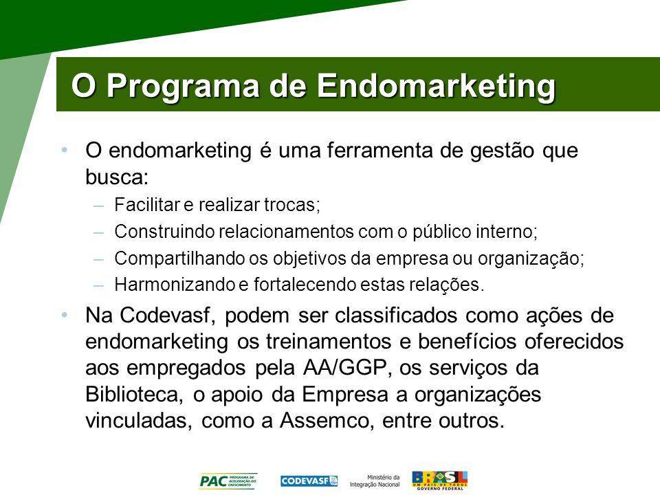 O Programa de Endomarketing O endomarketing é uma ferramenta de gestão que busca: –Facilitar e realizar trocas; –Construindo relacionamentos com o púb