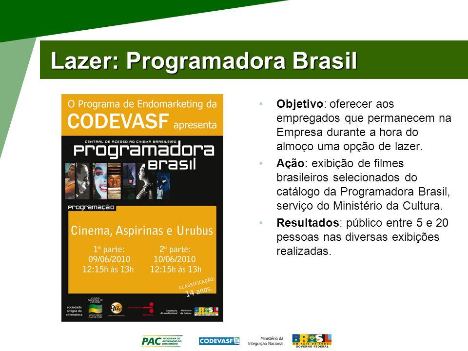 Lazer: Programadora Brasil Objetivo: oferecer aos empregados que permanecem na Empresa durante a hora do almoço uma opção de lazer. Ação: exibição de