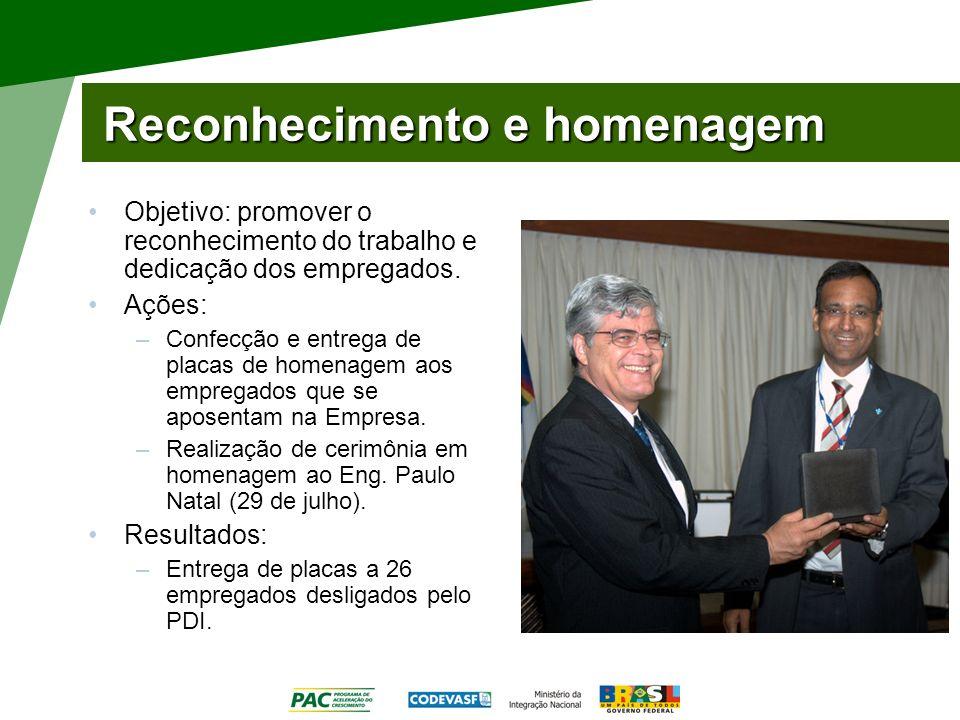 Reconhecimento e homenagem Objetivo: promover o reconhecimento do trabalho e dedicação dos empregados. Ações: –Confecção e entrega de placas de homena