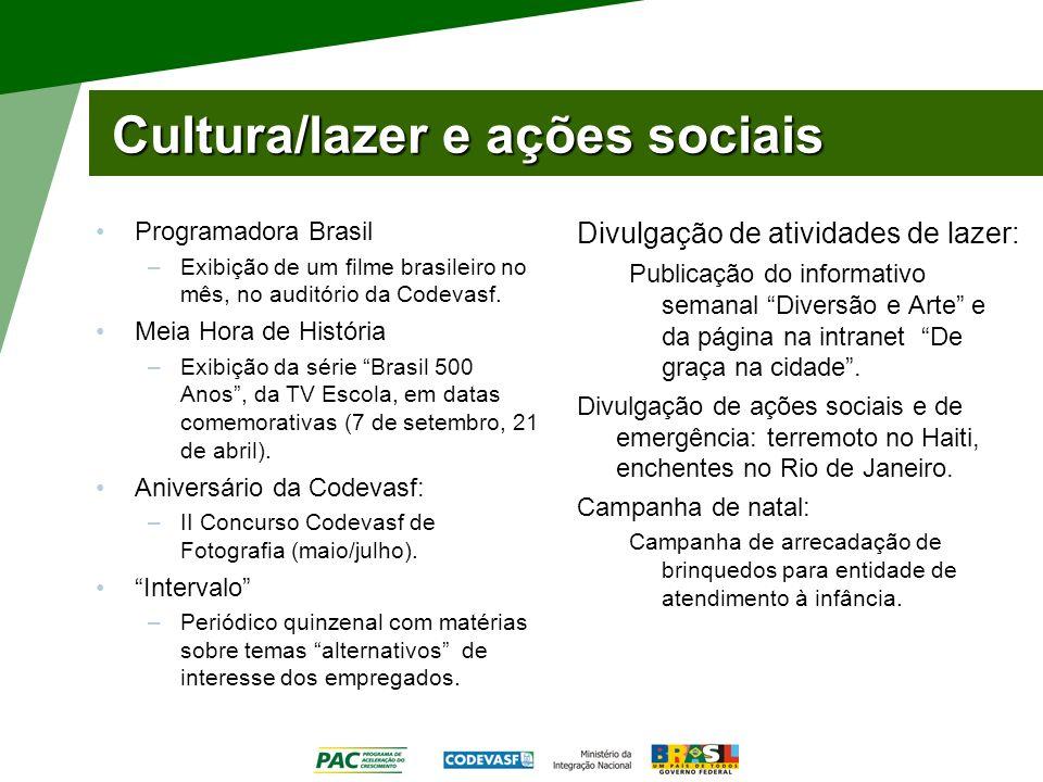Cultura/lazer e ações sociais Programadora Brasil –Exibição de um filme brasileiro no mês, no auditório da Codevasf. Meia Hora de História –Exibição d