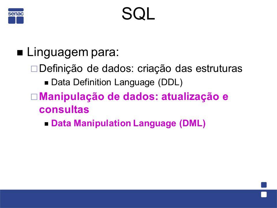 SQL Linguagem para: Definição de dados: criação das estruturas Data Definition Language (DDL) Manipulação de dados: atualização e consultas Data Manipulation Language (DML)