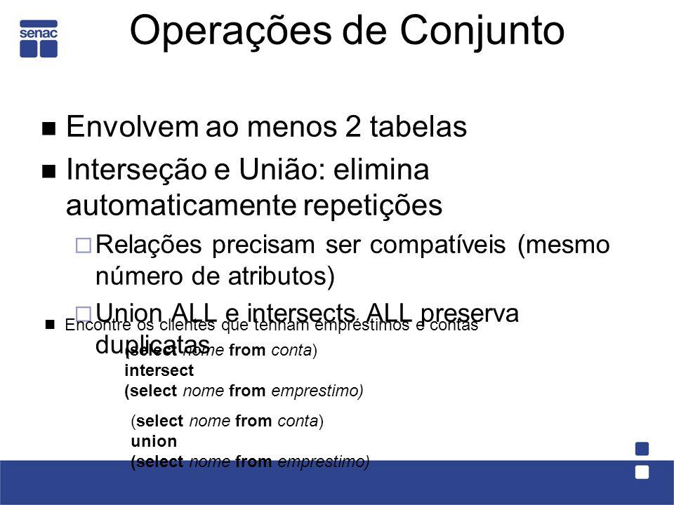 Operações de Conjunto Envolvem ao menos 2 tabelas Interseção e União: elimina automaticamente repetições Relações precisam ser compatíveis (mesmo núme