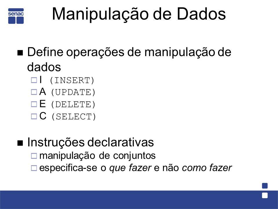 Manipulação de Dados Define operações de manipulação de dados I (INSERT) A (UPDATE) E (DELETE) C (SELECT) Instruções declarativas manipulação de conju